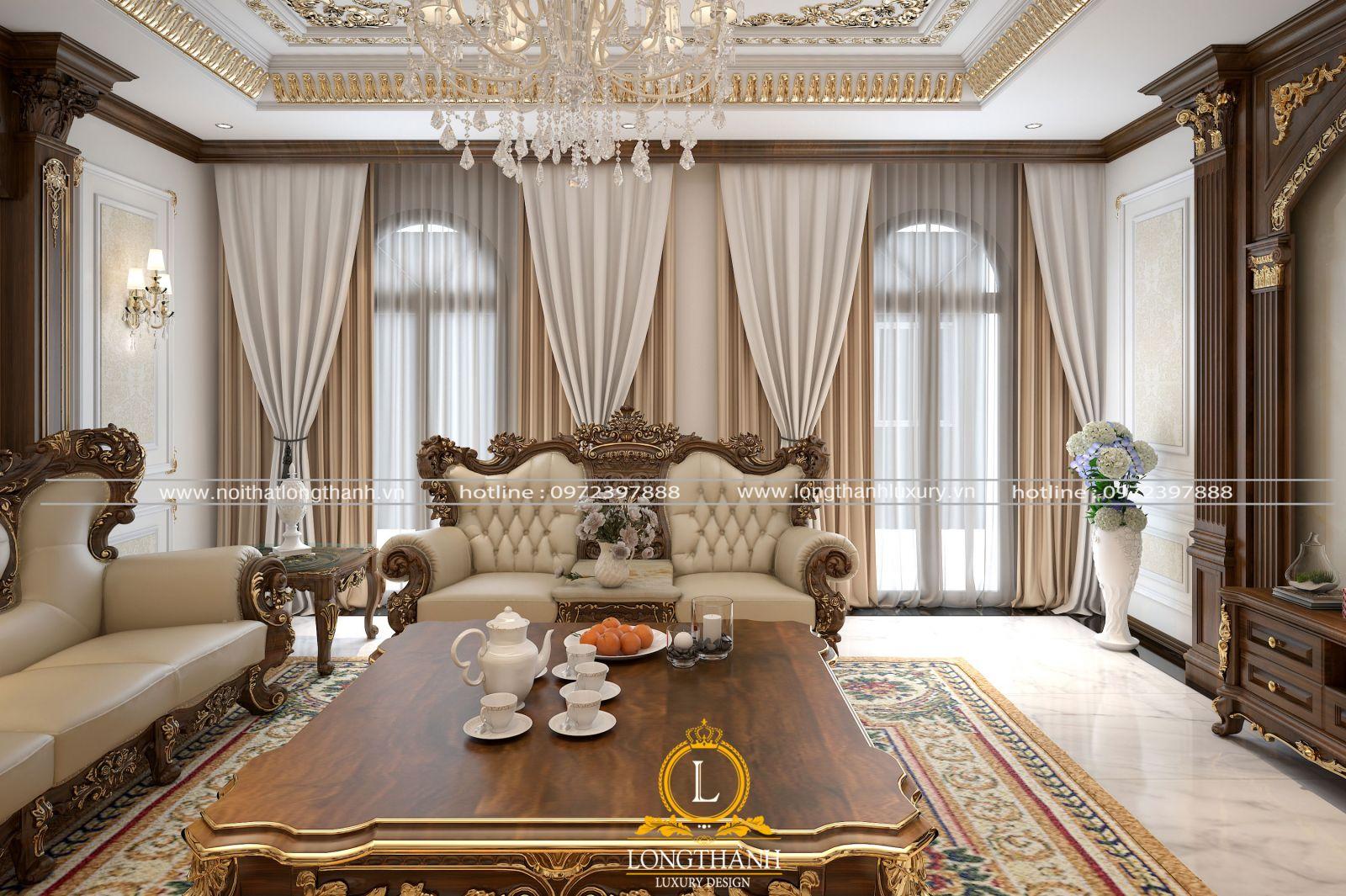 Sự kết hợp màu sắc khéo léo cho phòng khách tân cổ điển lịch lãm