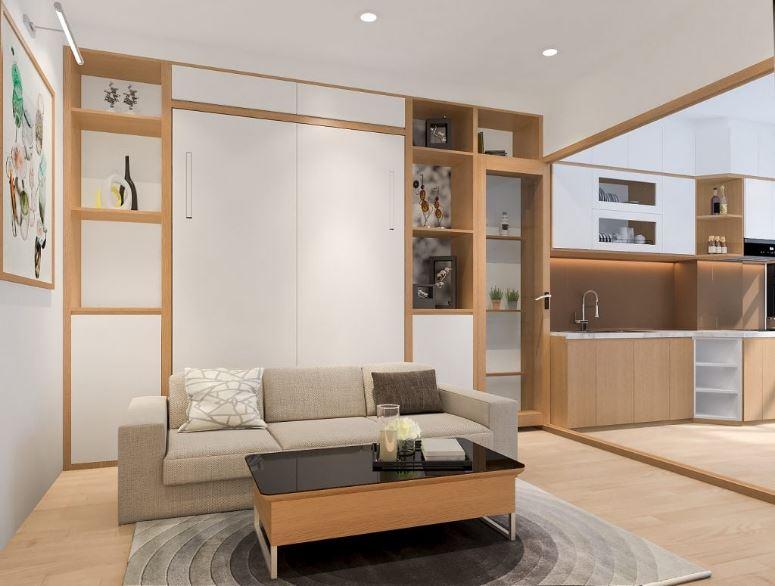 Không gian phòng khách chung cư sang trọng với sofa bed