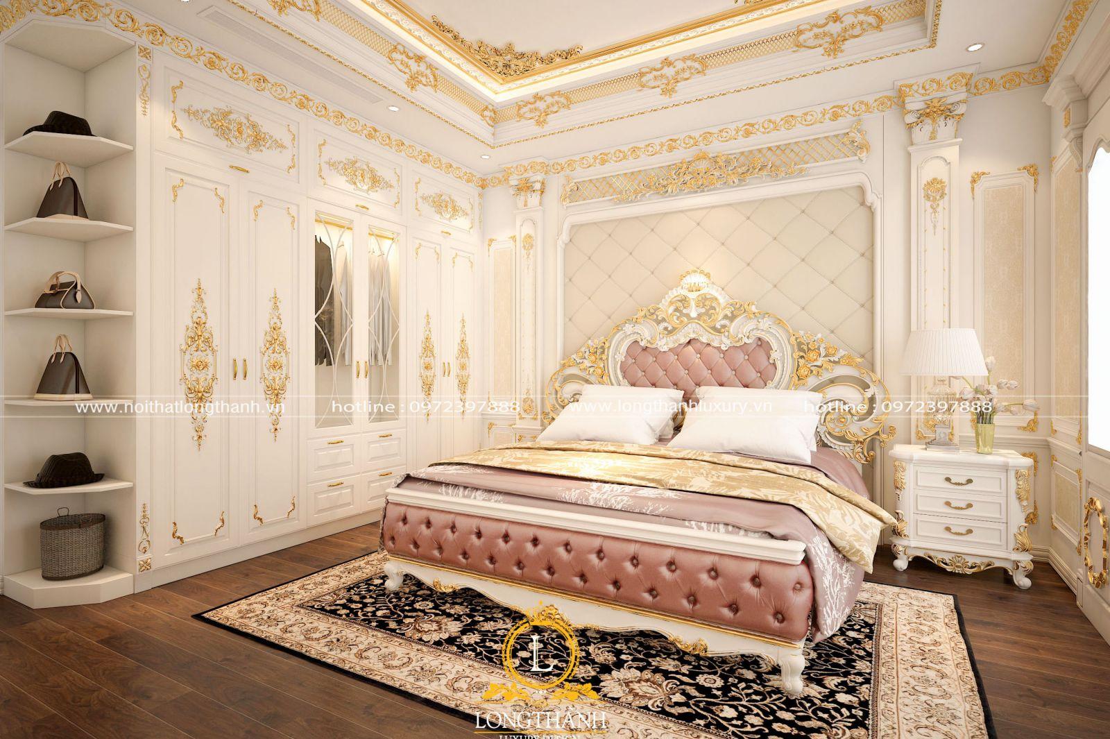 Tab đầu giường đồng bộ màu sắc cùng phòng ngủ tân cổ điển dát vàng