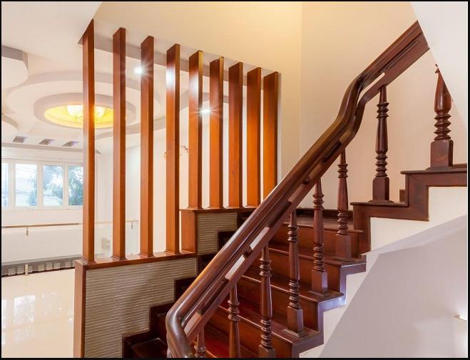 Tay vịn cầu thang gỗ hình tròn