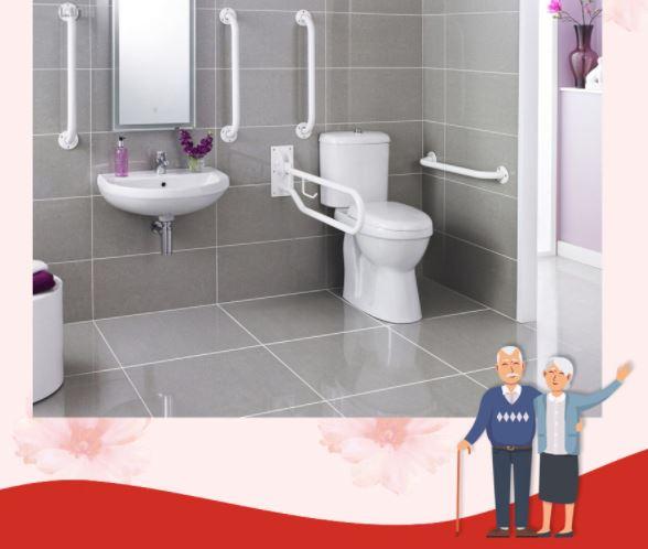 Hệ thống tay vịn trong nhà vệ sinh cho người già