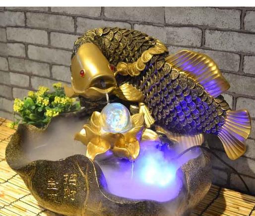 thác nước phong thủy cá chép vàng