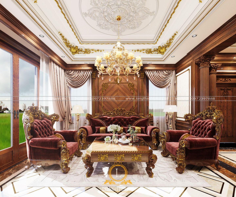 Sofa nhung màu tím đỏ cho không gian thêm phần ấm cúng