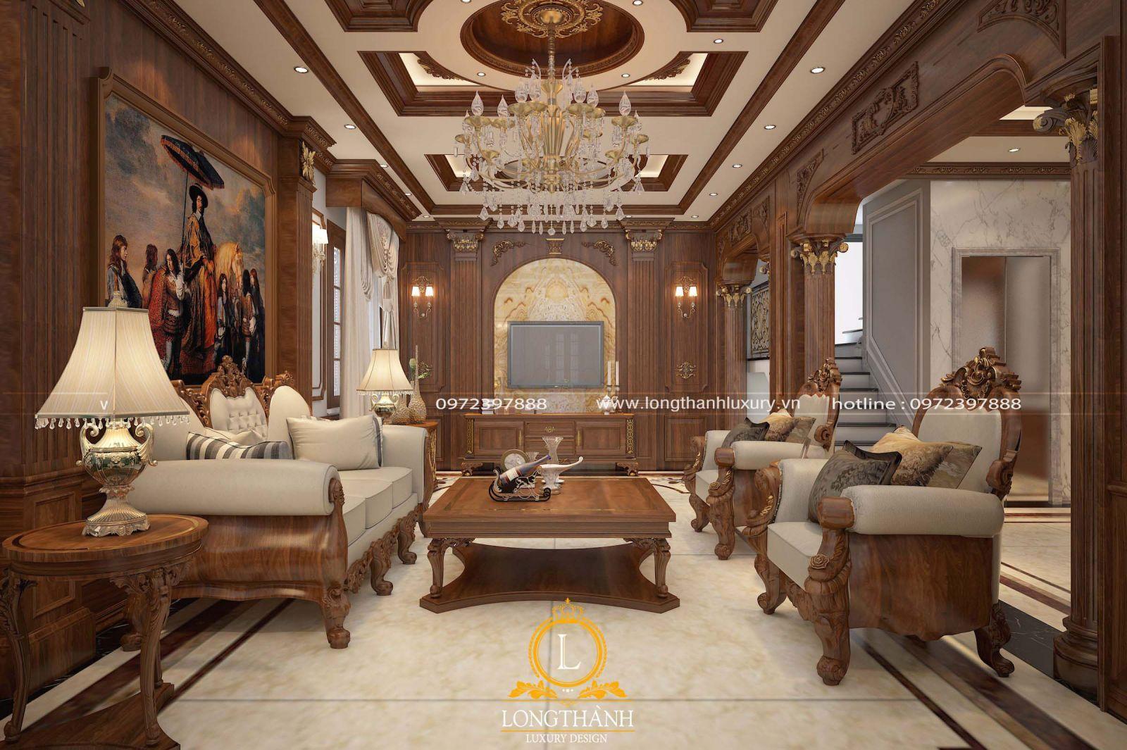 Thiết kế bài trí nội thất cho không gian phòng khách của biệt thự