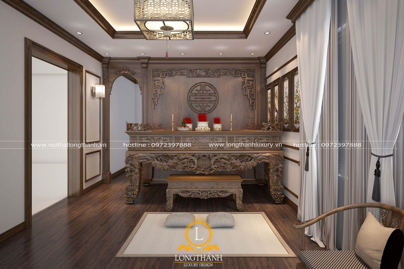 Mẫu bàn thờ đẹp cho nhà biệt thự đặt tầng 1 làm từ gỗ Óc chó