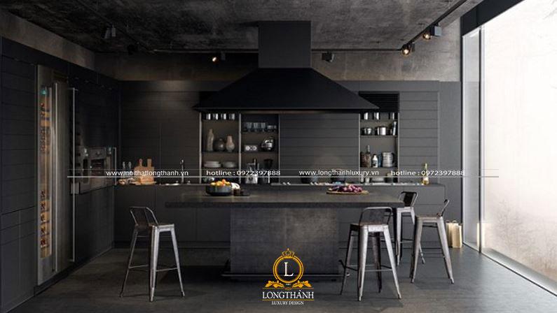 Thiết kế bếp cho nhà biệt thự theo phong cách hiện đại với màu đen huyền bí