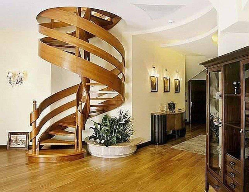 Thiết kế cầu thang xoắn ốc bằng gỗ sáng tạo