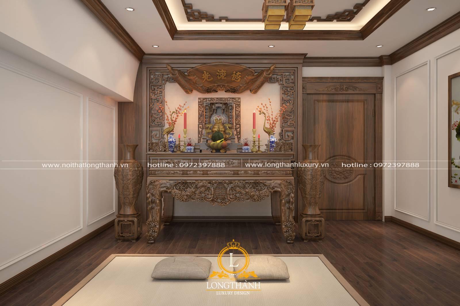 Mẫu cửa phòng thờ nguyên khối cho không gian thêm trang nghiêm tĩnh lặng
