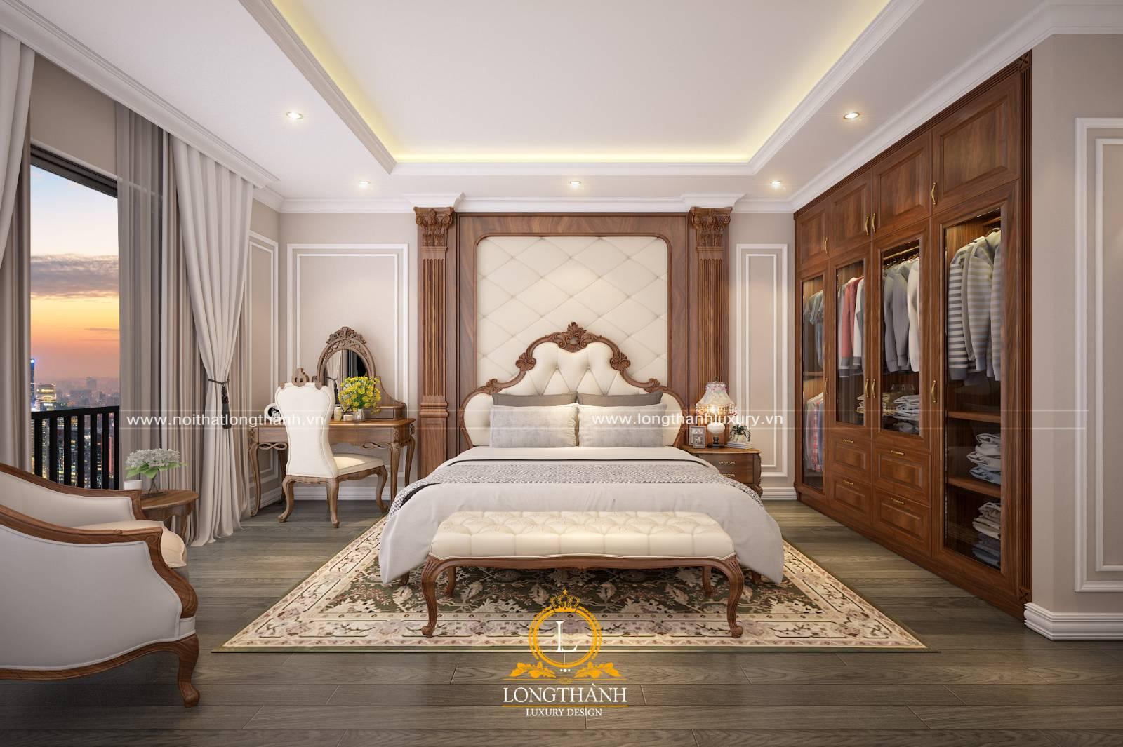 Mẫu giường ngủ bọc da đẹp sang trọng hiện đại