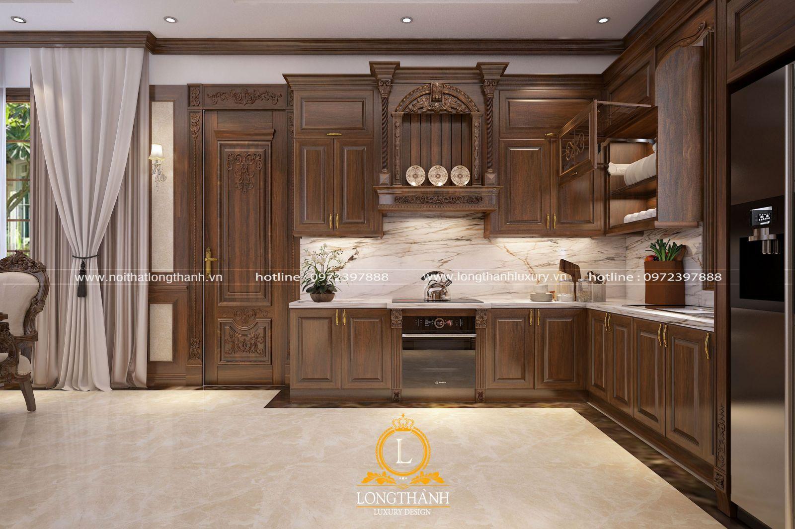 Thiết kế không gian bếp với tông màu chủ đạo là nâu trầm ấm cúng