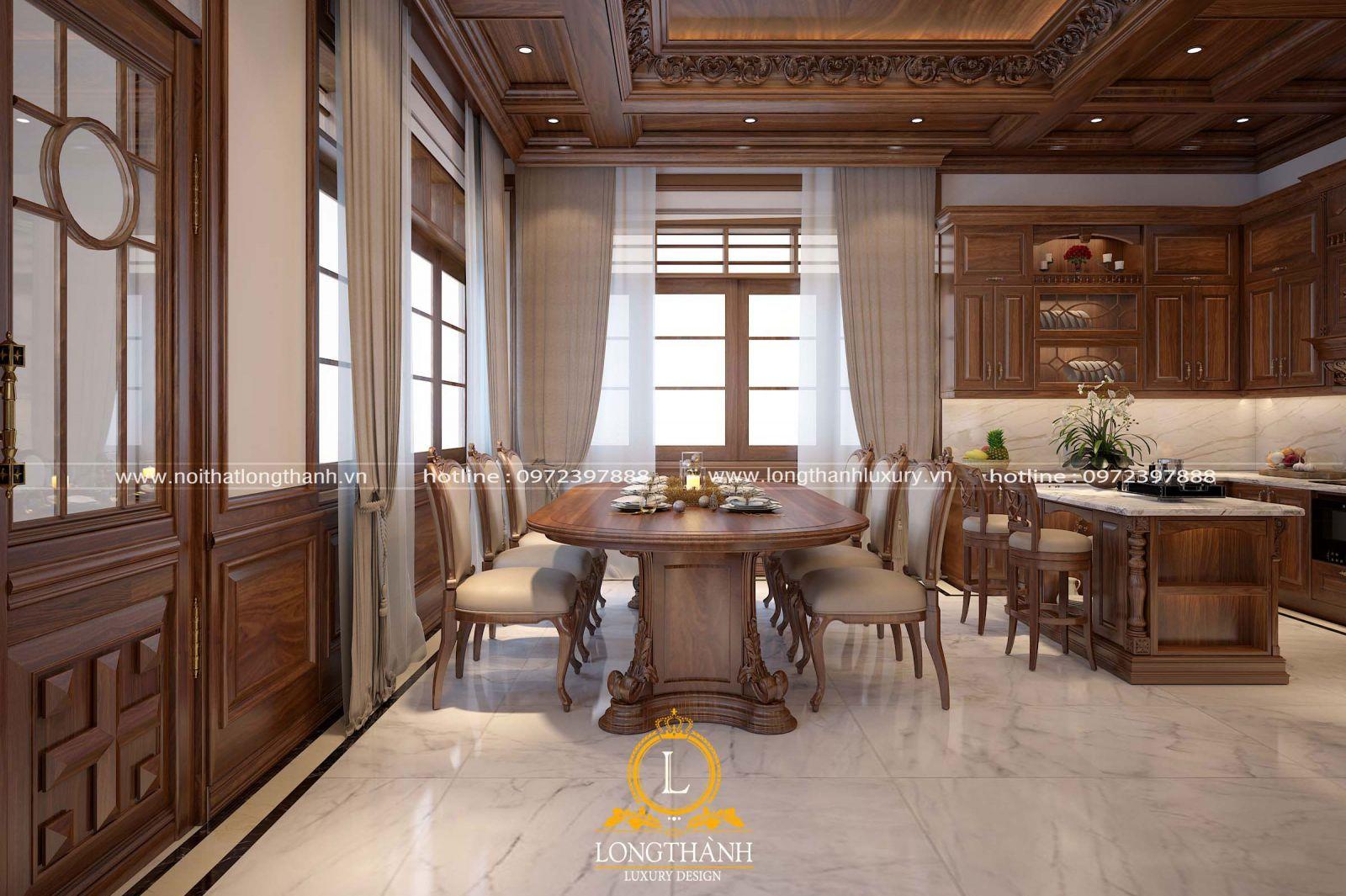 Không gian phòng bếp tân cổ điển với nhẹ nhàng tự nhiên mà ấm áp