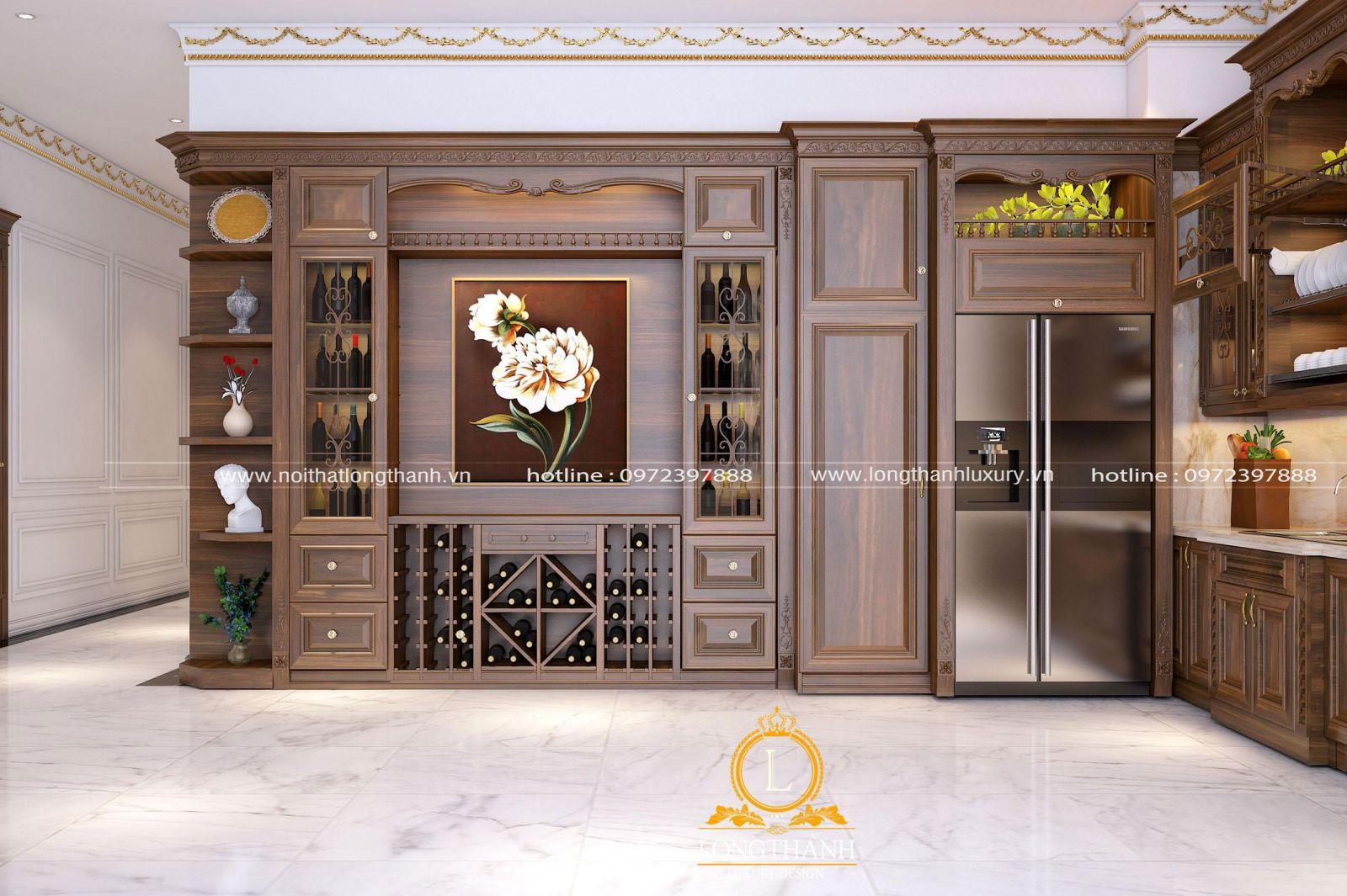 Mẫu thiết kể phòng bếp nhà biệt thự rộng với điểm nhấn là tủ bếp phong cách tân cổ điển