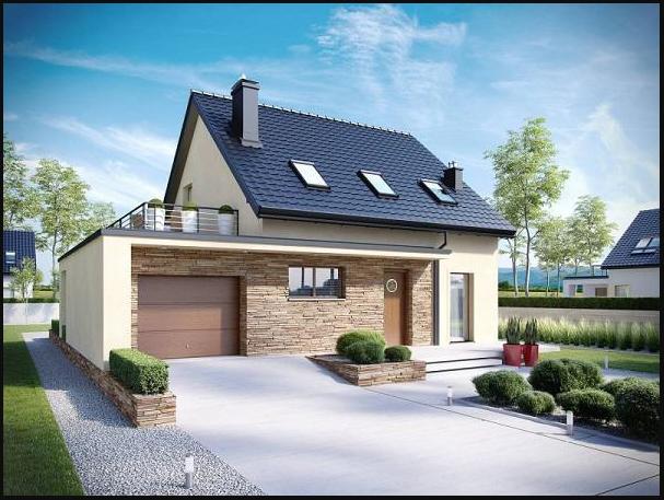 Thiết kế mặt tiền nhà 1 tầng mái thái, bên ngoài những mảng tường ốp đá giả gỗ
