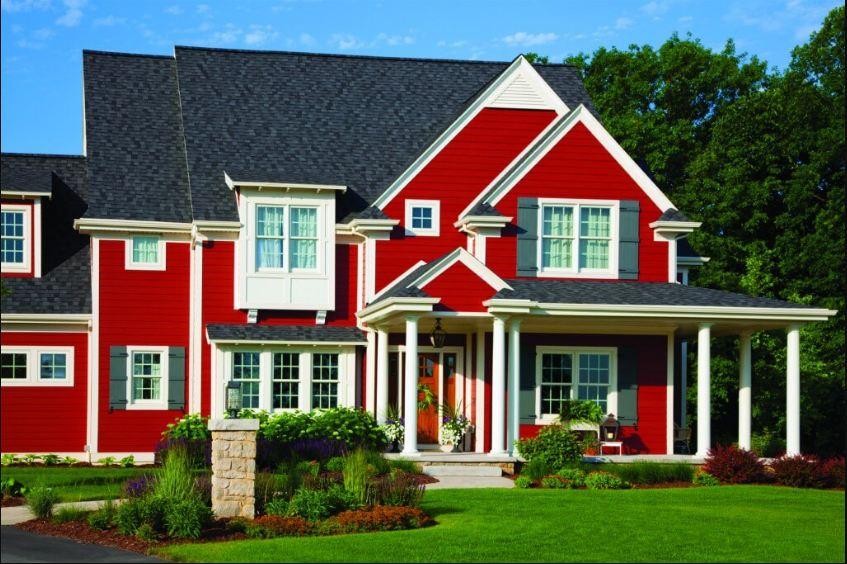 Thiết kế nhà mái thái hướng đông nam sơn màu nâu đỏ