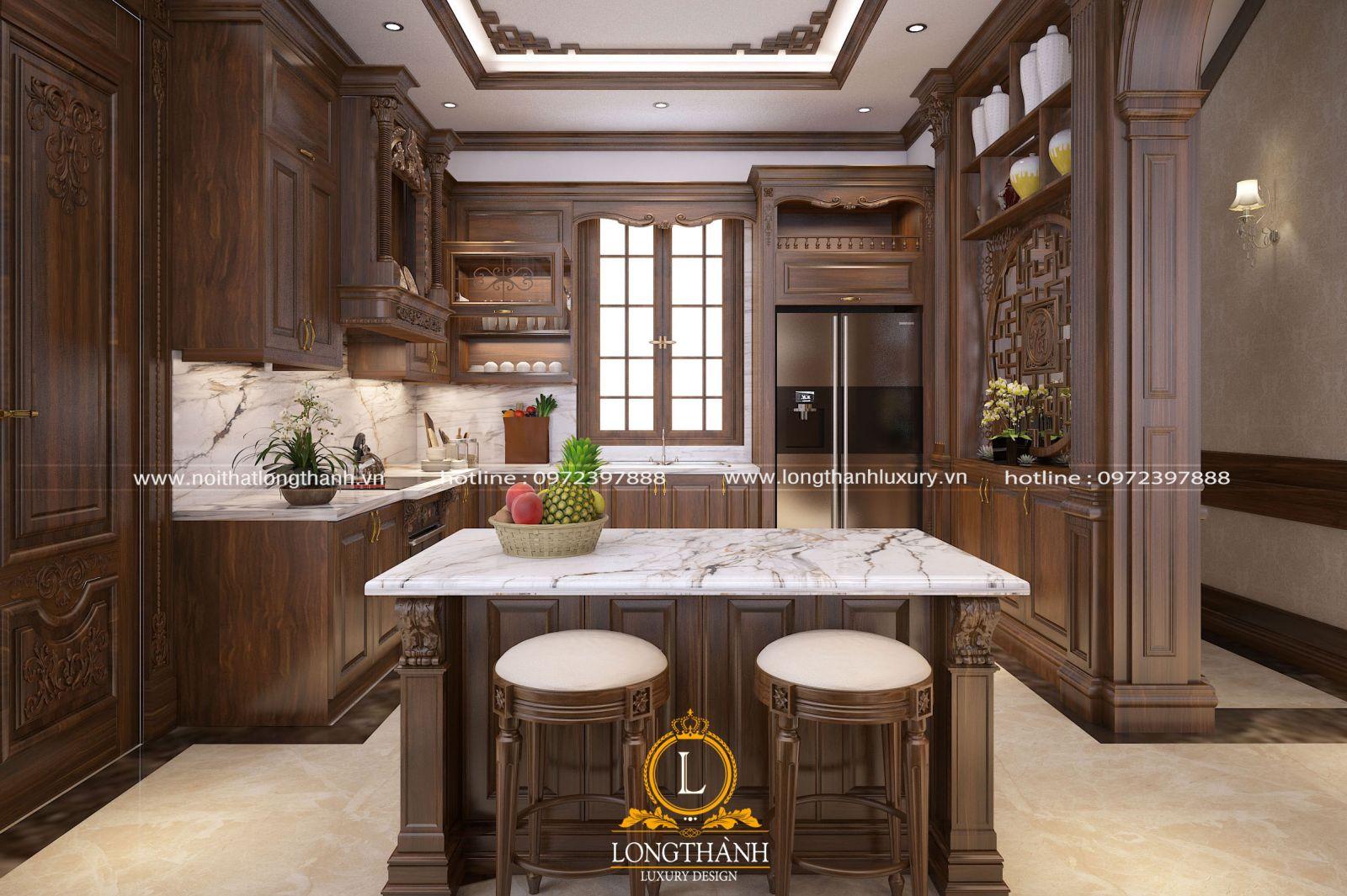 Thiết kế nội thất 3D cho phòng bếp biệt thự