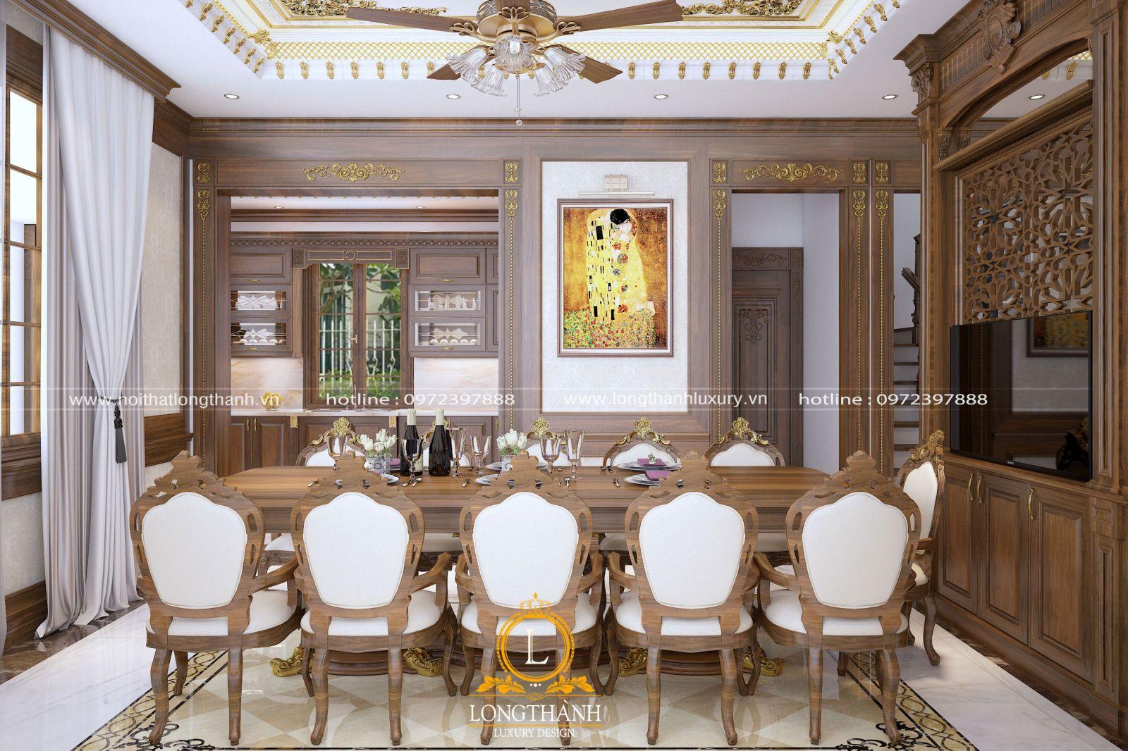 Bộ bàn ghế ăn 10 ghế với chất liệu gỗ Gõ tự nhiên