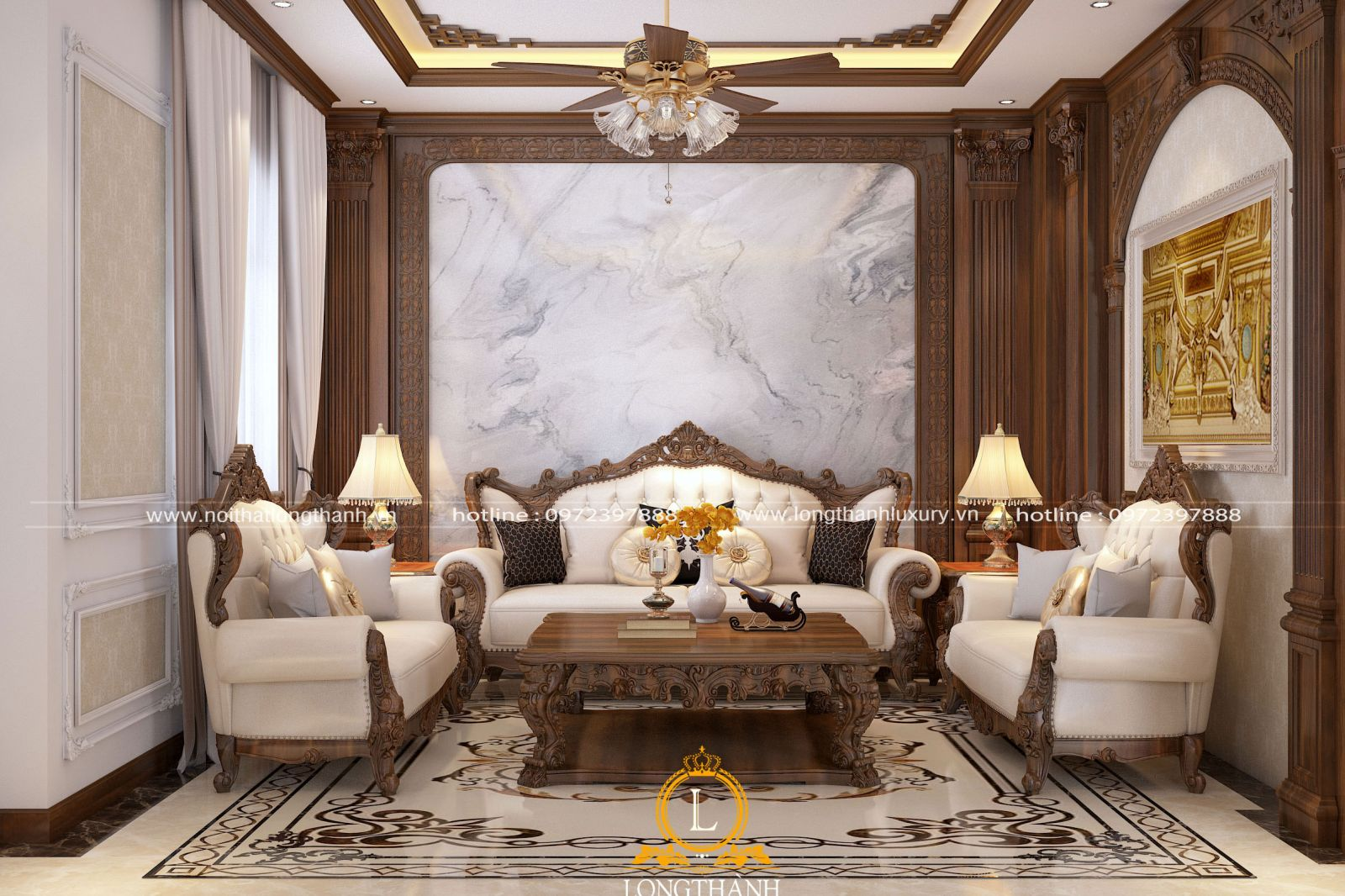 Thiết kế nội thất biệt thự liền kề với phong cách tân cổ điển sang trạng