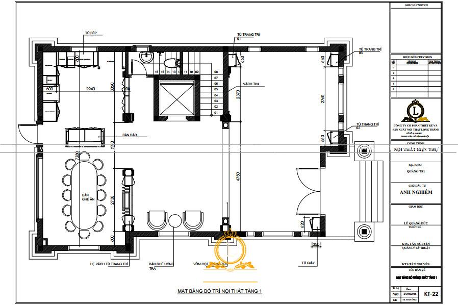 Thiết kế nội thất biệt thự nhà anh Nghiêm tại Thanh Hóa