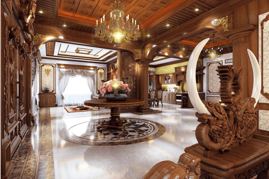 Thiết kế nội thất bệt thự cỏ điển theo kiểu truyền thống của Việt Nam