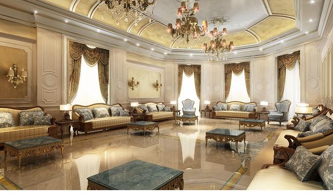 Trang trí phòng khách theo kiểu cô điển Châu Âu sang trọng quyền quý