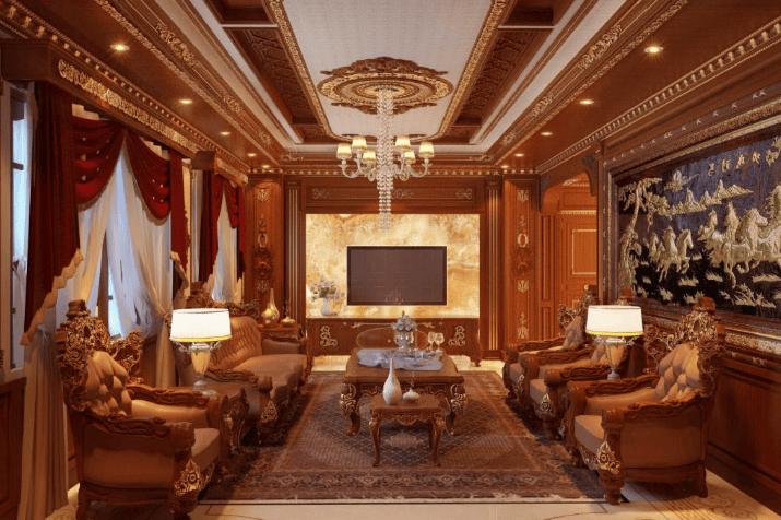 Thiết kế nội thất phòng khách nhà biệt thự phố phong cách cổ điển truyền thống