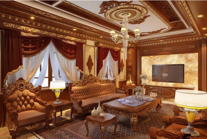 Thiết kế nội thất cổ điển cho phòng khách nhà biệt thự rộng