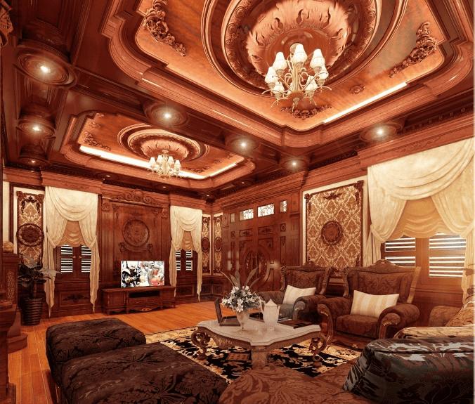 Thiết kế nội thất cổ điển cho không gian phòng khách sang trọng