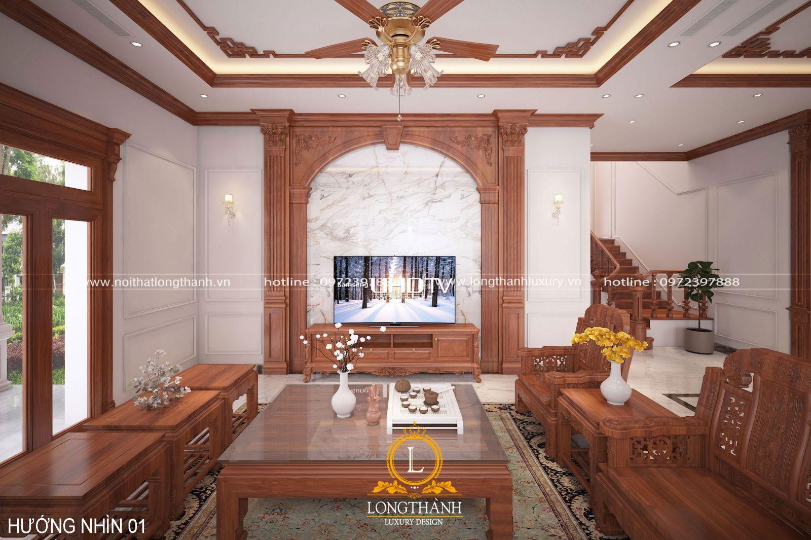 Nội thất màu gỗ tự nhiên ấn tượng và bắt mắt