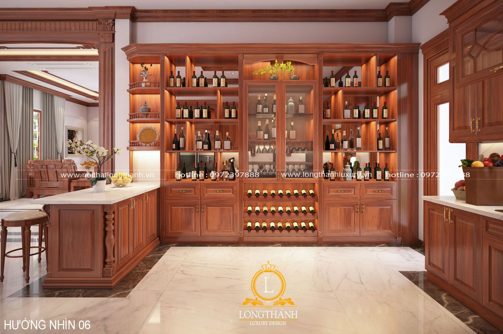 Thiết kế tủ rượu cùng quẩy bar sang trọng
