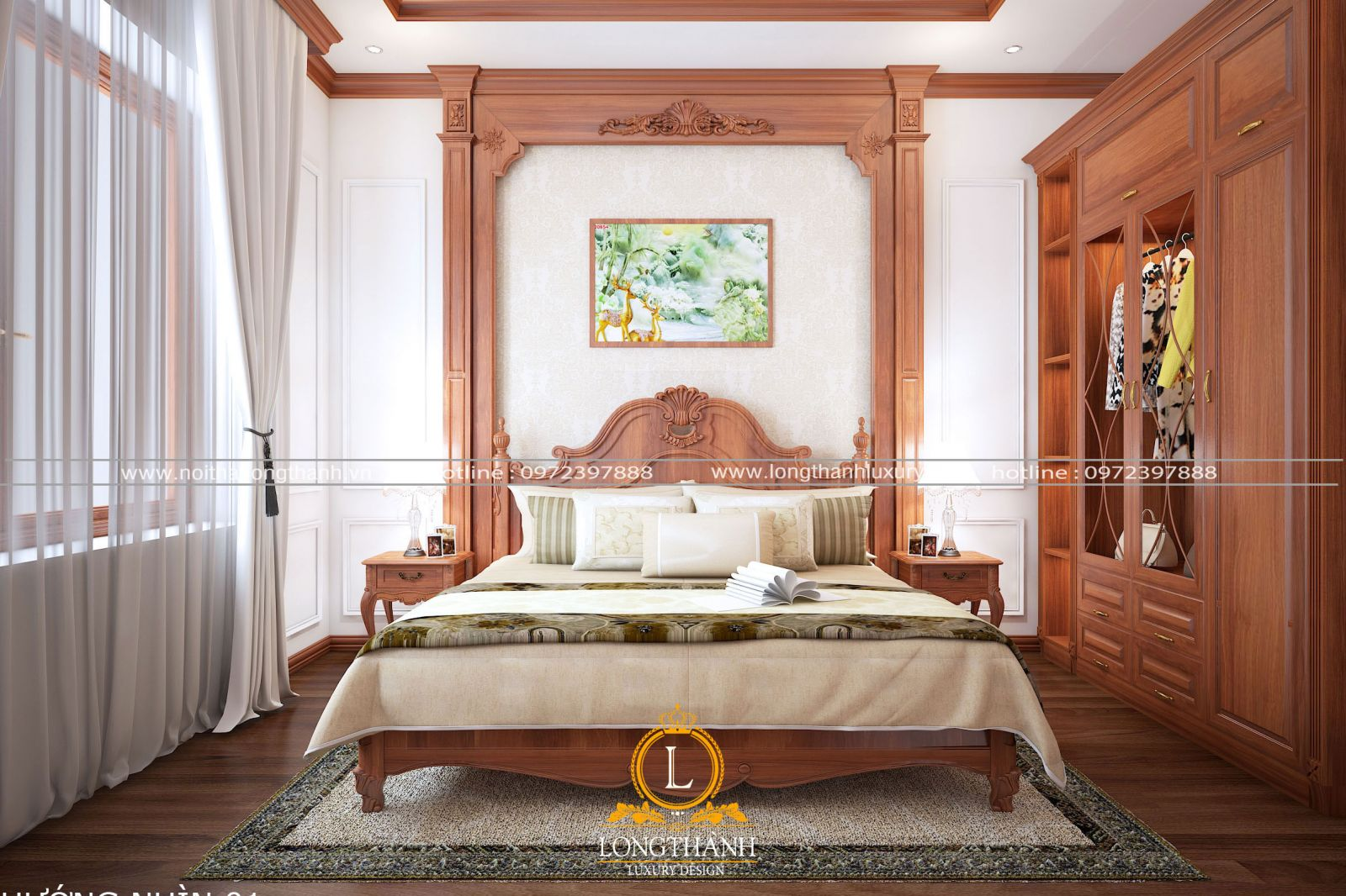 Phòng ngủ tân cổ điển với màu sắc nhẹ nhàng