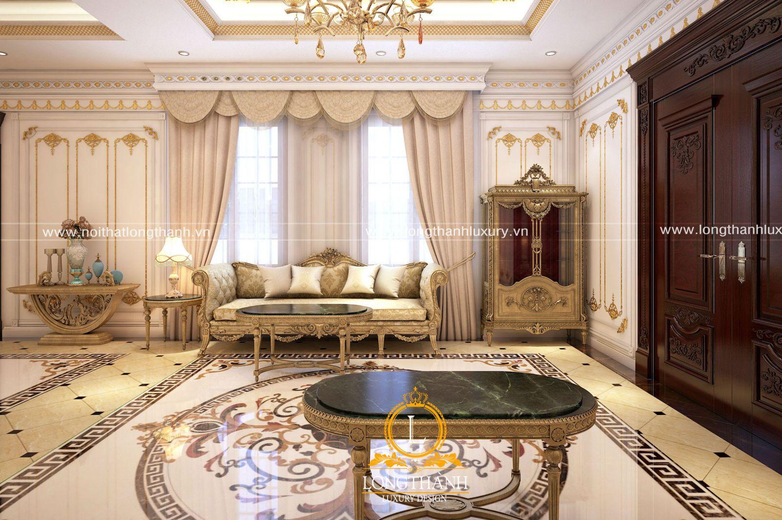 Bộ đèn chùm và sofa là điểm nhấn chính cho không gian phòng khách tân cổ điển