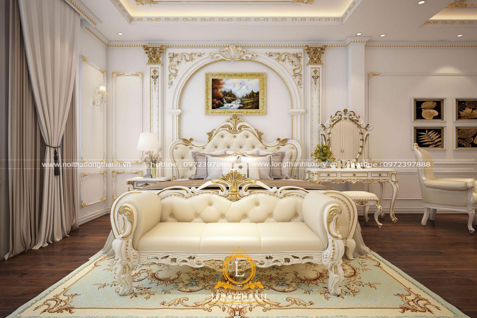 Phòng ngủ Master tân cổ điển sơn trắng dát vàng lộng lẫy