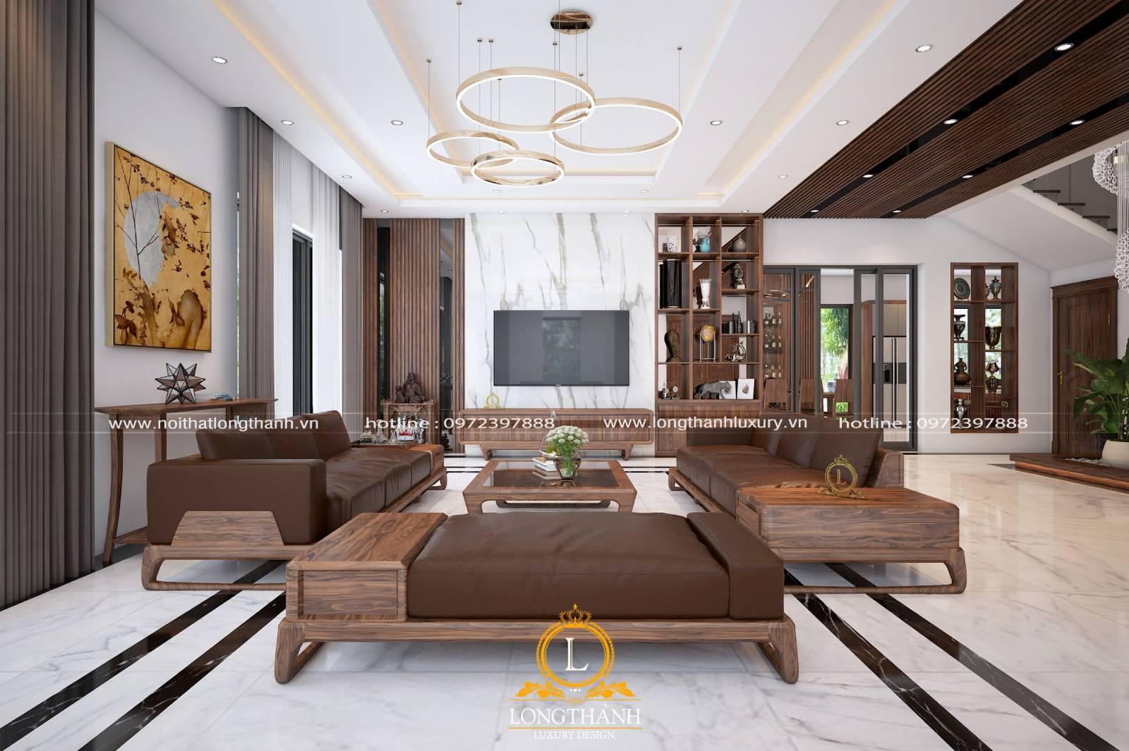 Thiết kế nội thất phòng khách biệt thự song lập theo phong cách hiện đại