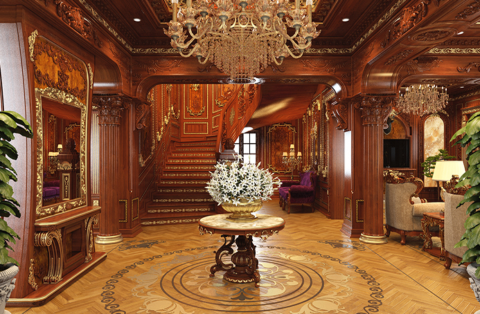 Thiết kế nội thất phòng khách phong cách cổ điển cho nhà biệt thự song lập
