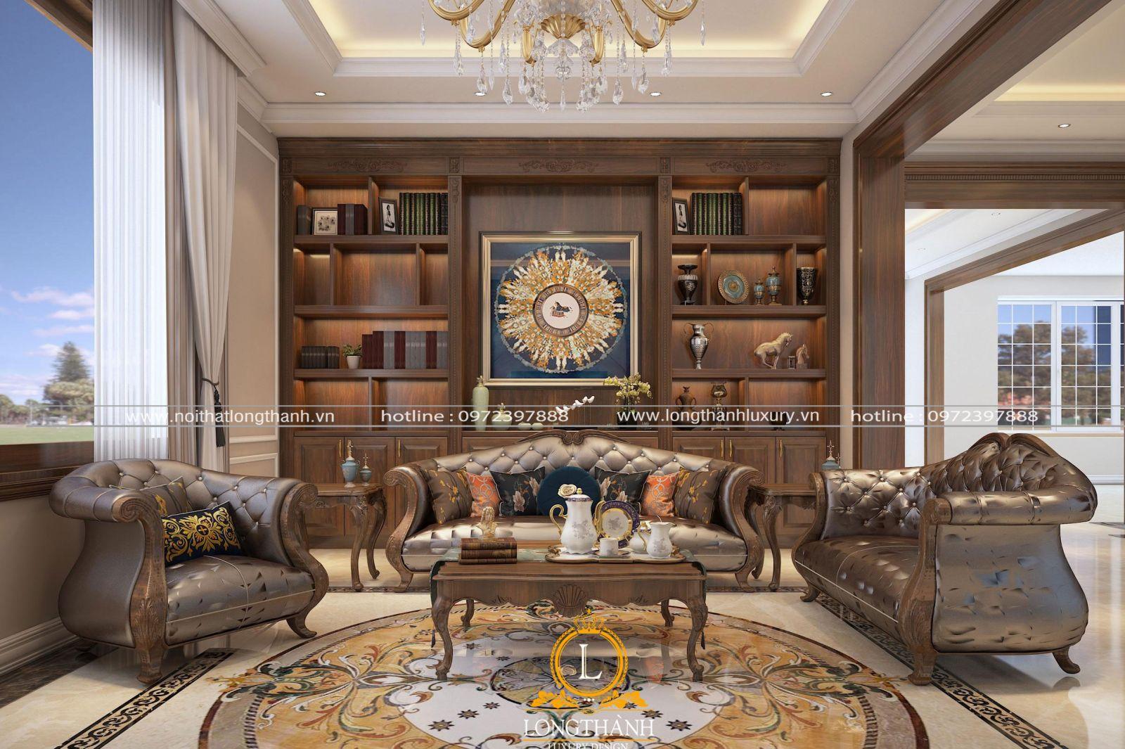Thiết kế nội thất phòng khách biệt thự tân cổ điển đẹp