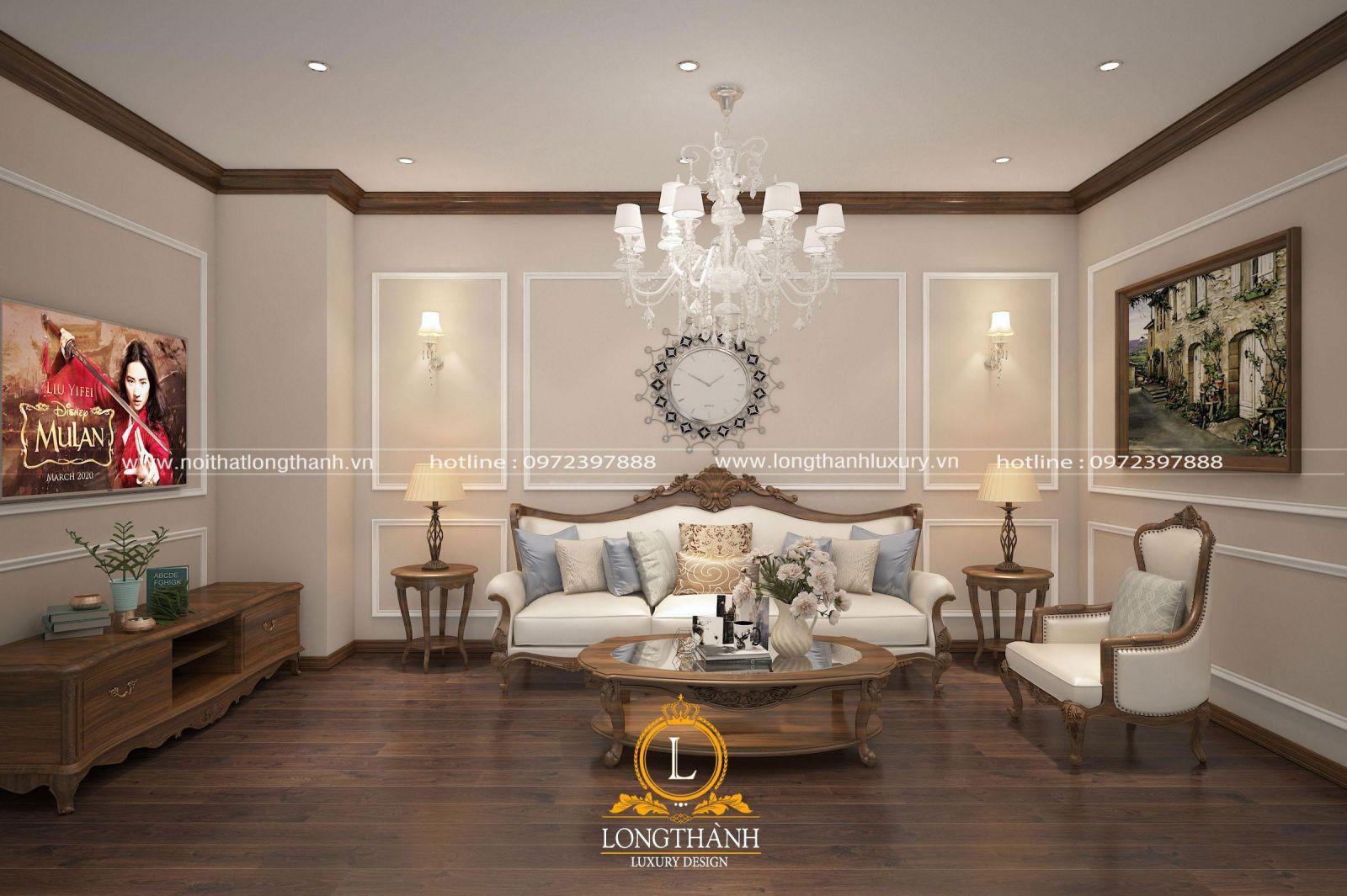 Thiết kế phòng sinh hoạt chung tân cổ điển với màu sắc nhẹ nhàng