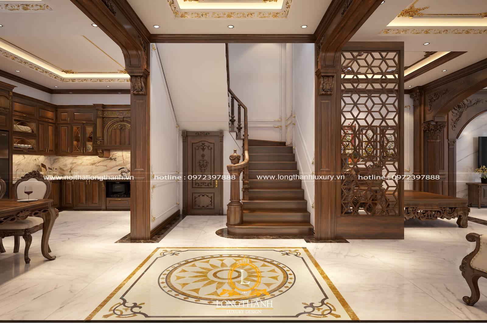 Thiết kế nội thất phòng khách có cầu thang theo phong cách tân cổ điển