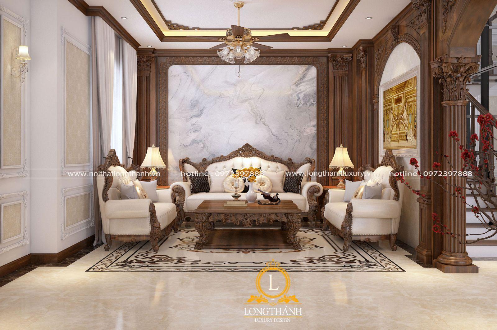 Không gian phòng khách tân cổ điển đẹp thể hiện bộ mặt của gia chủ