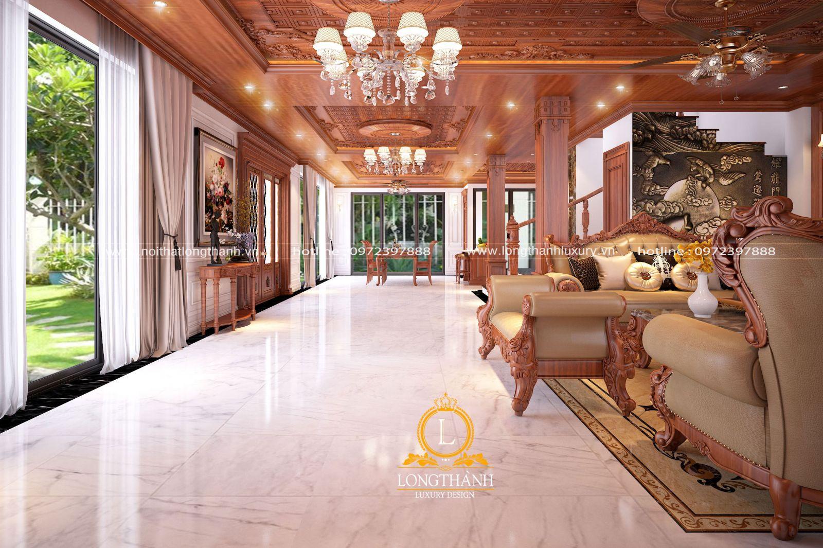 Thiết kế nội thất phòng khách nhà biệt thự đẳng cấp