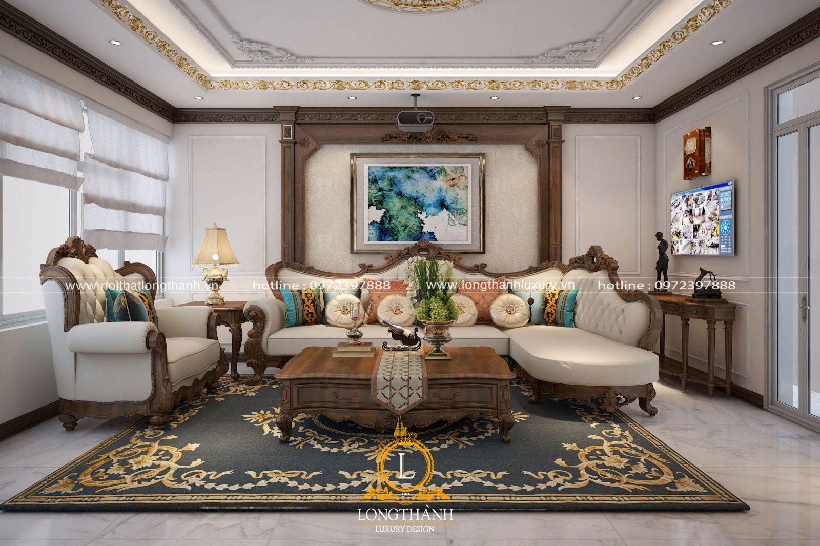 Sofa tân cổ điển luôn là điểm nhấn cho không gian phòng khách