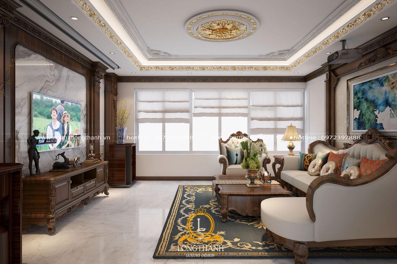 Không gian nội thất phòng khách tân cổ điển đẹp ấn tượng