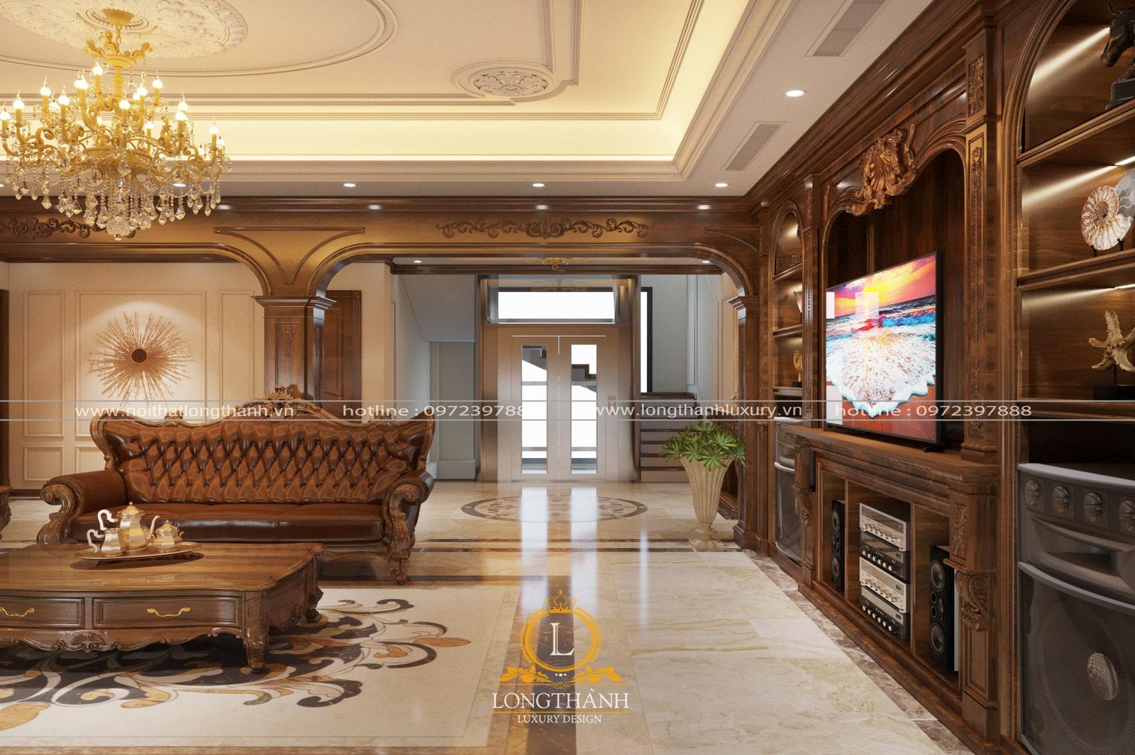 phòng khách theo phong cách nội thất tân cổ điển