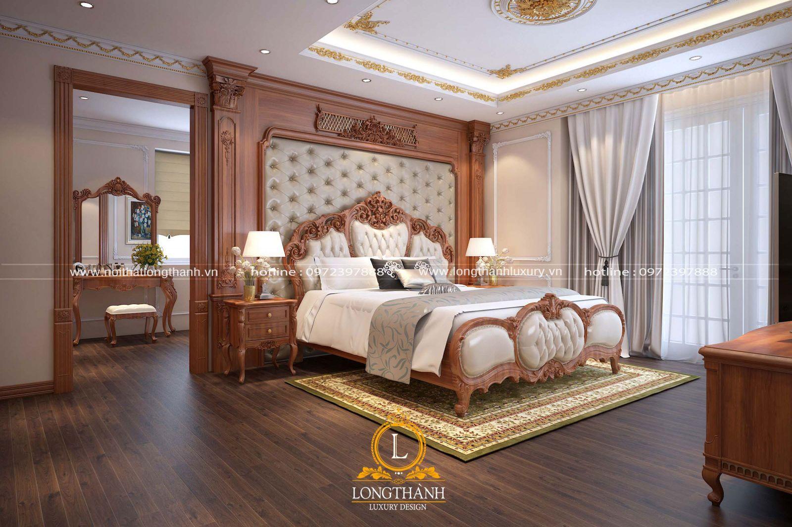 Thiết kế nội thất phòng ngủ master rộng cho biệt thự song lập