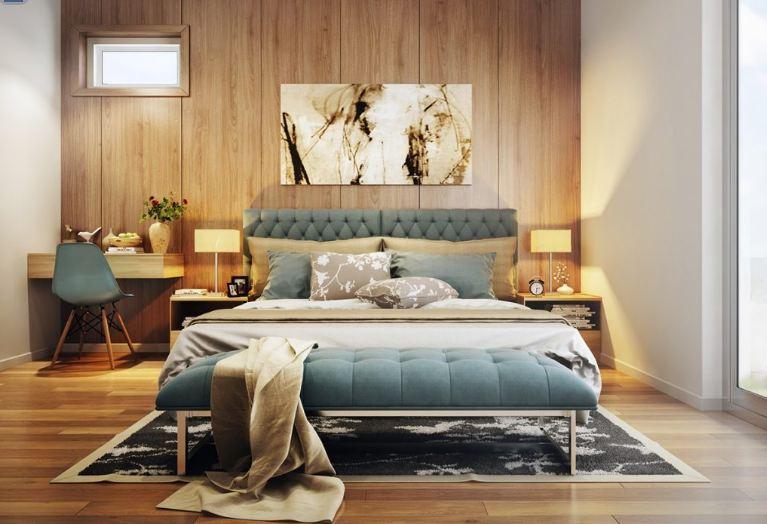 Thiết kế nội thất phòng ngủ ốp gỗ cho không gian thêm sinh động hơn