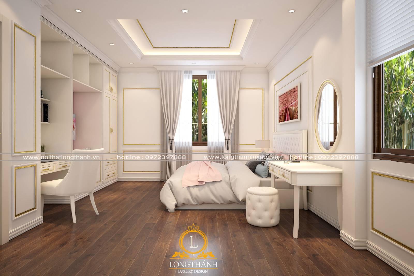Thiết kế nội thất phòng ngủ tân cổ điển màu trắng nhẹ nhàng cho các cô gái trẻ