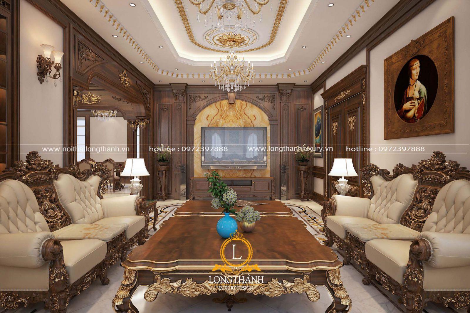 Bộ sofa tân cổ điển được dát vàng tại điểm nhấn hoa văn