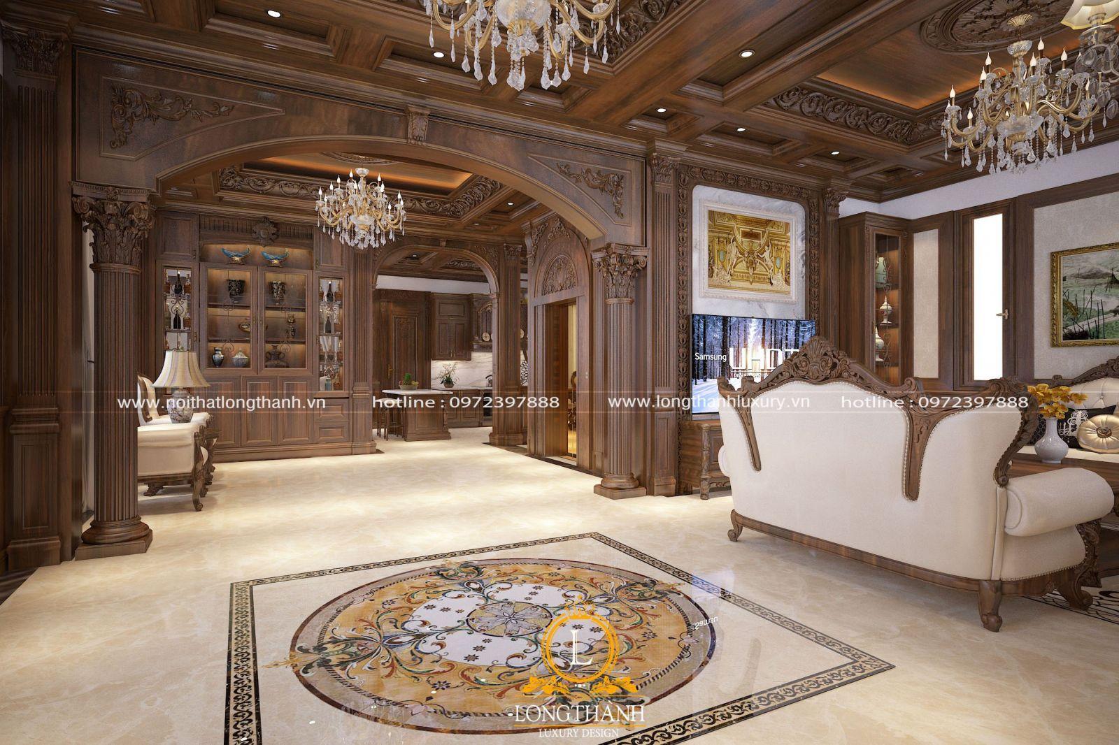 Thiết kế nội thất tân cổ điển với mẫu đèn chùm làm điểm nhấn lôi cuốn