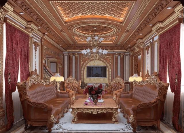 Mẫu thiết kế nội thất phòng khách theo phong cách cổ điển đẹp