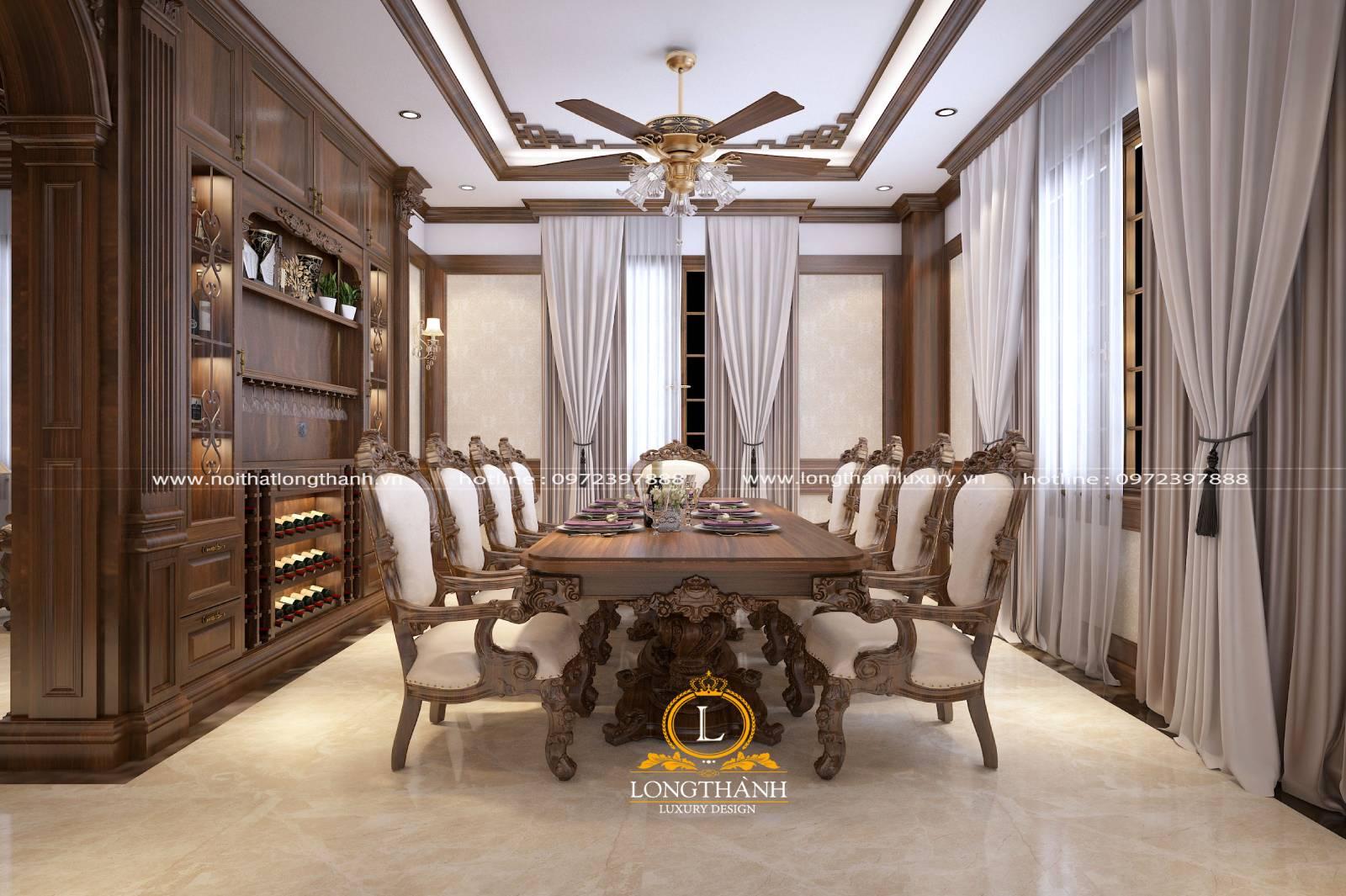 Tổng thể nội thất phòng bếp kết hợp tủ bếp gỗ Gõ và bàn ăn gỗ Gõ sang trọng
