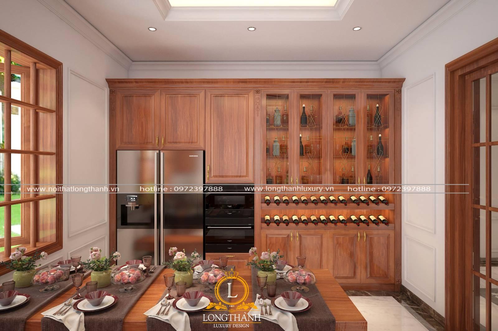 Thiết kế tủ bếp và bàn ăn gỗ Gõ tạo nên sự đồng bộ trong không gian bếp